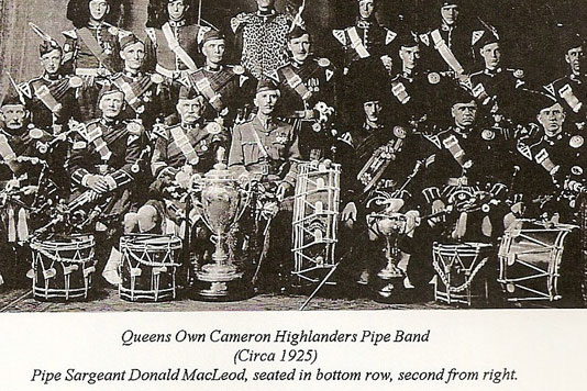 Queens Own Cameron Highlanders Pipe Band 1925