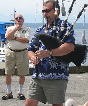 While on a road trip with the Kalamalka Highlanders to the Powell River Sea Fair in 2008 - My dad watches, proudly